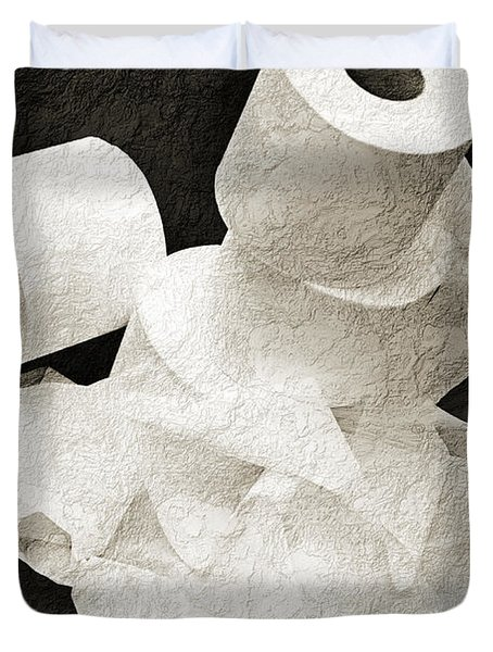 Where Is My Spare Roll Bw V1 Duvet Cover by Andee Design