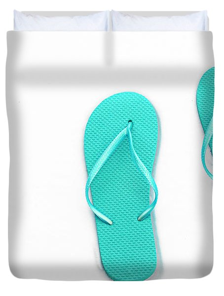 Where On Earth Is Spring - My Aqua Flip Flops Are Waiting Duvet Cover by Andee Design