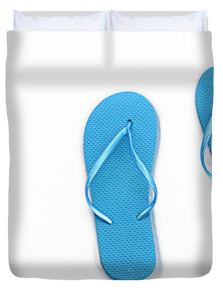 Where On Earth Is Spring - My Blue Flip Flops Are Waiting Duvet Cover by Andee Design