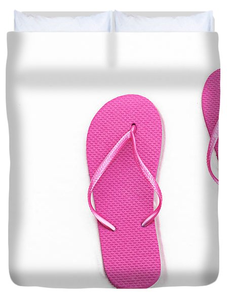 Where On Earth Is Spring - My Hot Pink Flip Flops Are Waiting Duvet Cover by Andee Design