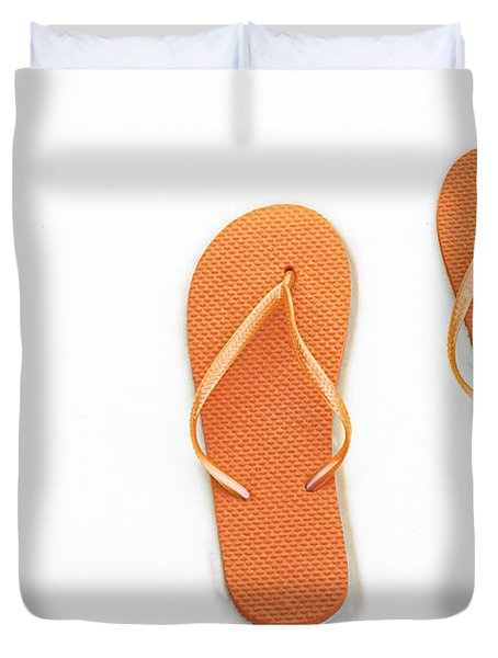 Where On Earth Is Spring - My Orange Flip Flops Are Waiting Duvet Cover by Andee Design