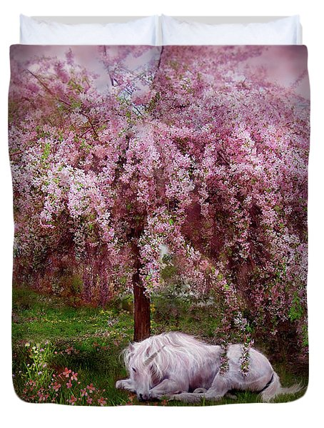 Where Unicorn's Dream Duvet Cover by Carol Cavalaris