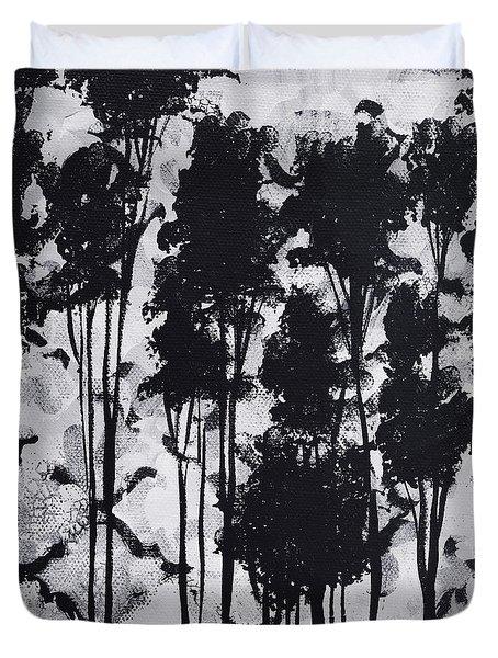 Whimsical Black And White Landscape Original Painting Decorative Contemporary Art By Madart Studios Duvet Cover by Megan Duncanson