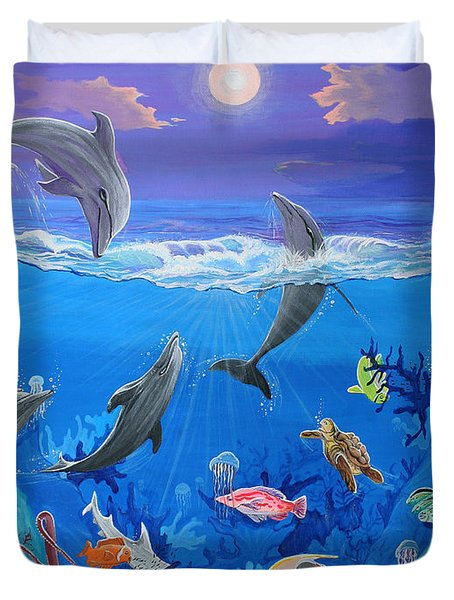 Whimsical Original Painting Undersea World Tropical Sea Life Art By Madart Duvet Cover by Megan Duncanson