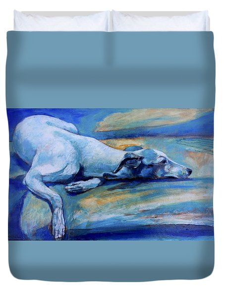 Whippet-effects Of Gravity-6 Duvet Cover by Derrick Higgins
