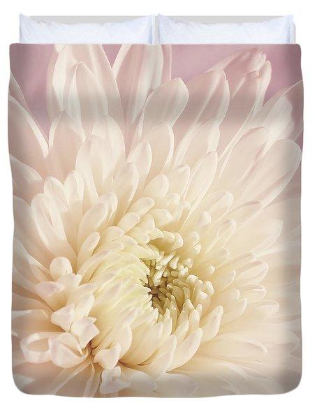 Whispering White Floral Duvet Cover by Kim Hojnacki