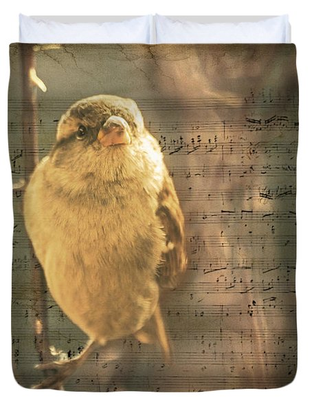 Whistling Song Sparrow Duvet Cover by Janice Rae Pariza