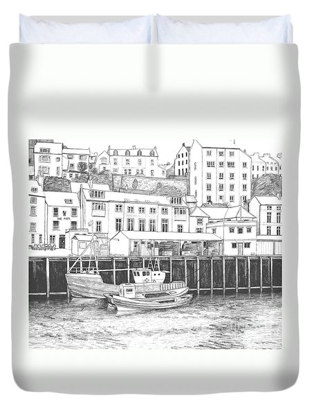 Whitby Harbour Duvet Cover by Shirley Miller