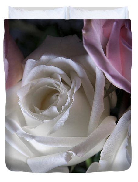White And Pink Roses Duvet Cover by Jennifer Ancker