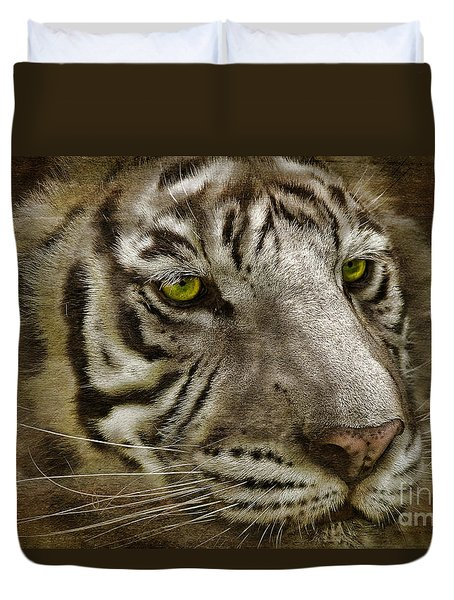 White Bengal Duvet Cover by Lois Bryan