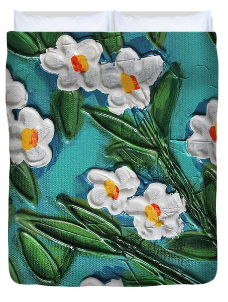 White Blooms 2 Duvet Cover by Cynthia Snyder
