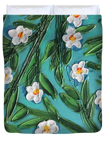 White Blooms Duvet Cover by Cynthia Snyder