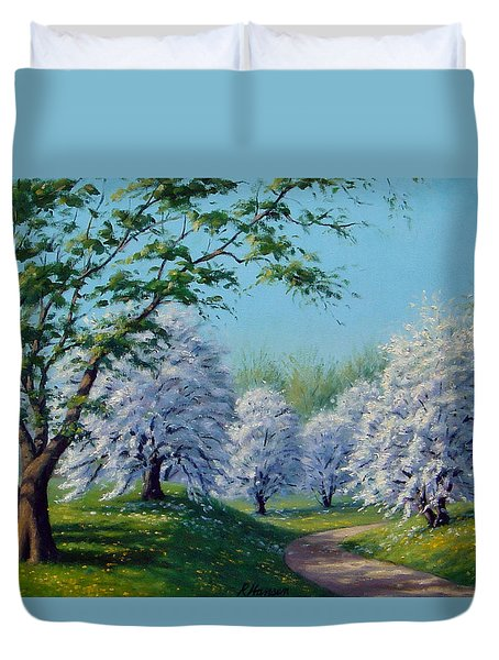 White Blossoms Duvet Cover by Rick Hansen