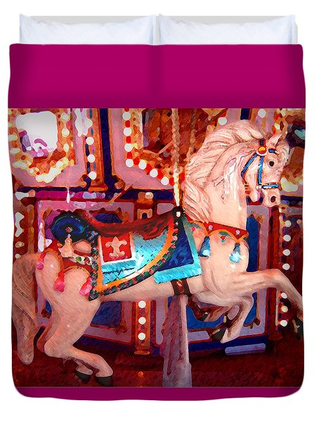 White Carousel Horse Duvet Cover by Amy Vangsgard