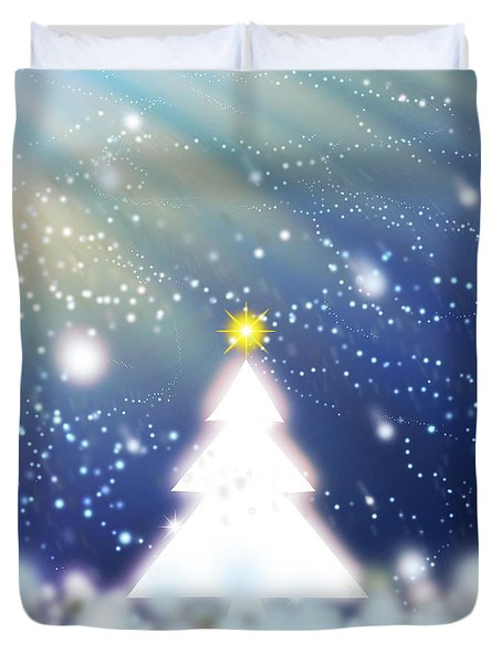 White Christmas Tree Duvet Cover by Atiketta Sangasaeng