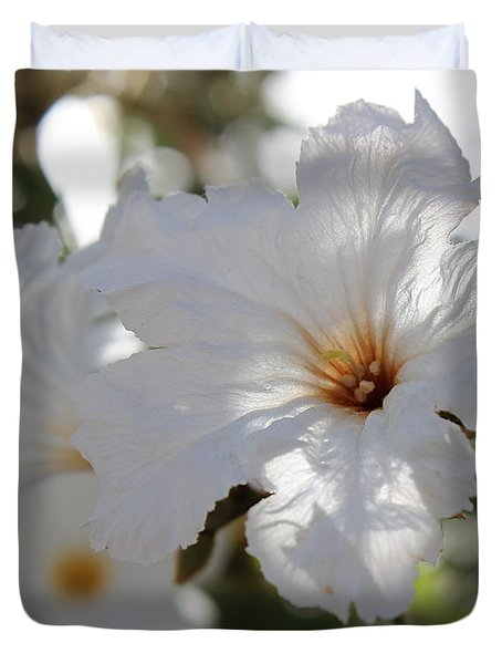 White Cordia Duvet Cover by Kume Bryant