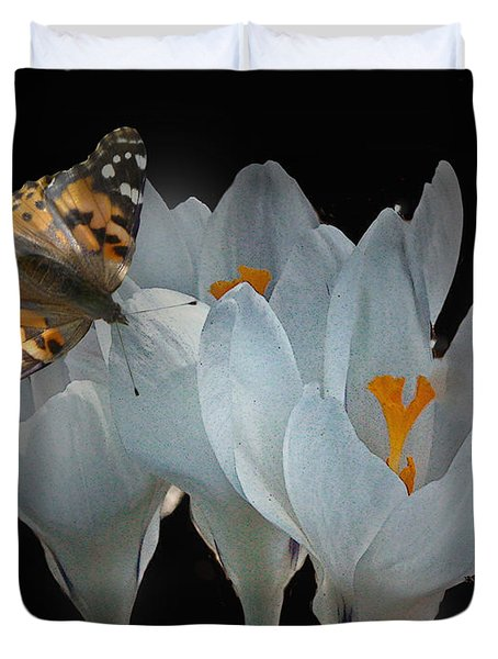 White Crocus With Monarch Butterfly Duvet Cover by Mikki Cucuzzo