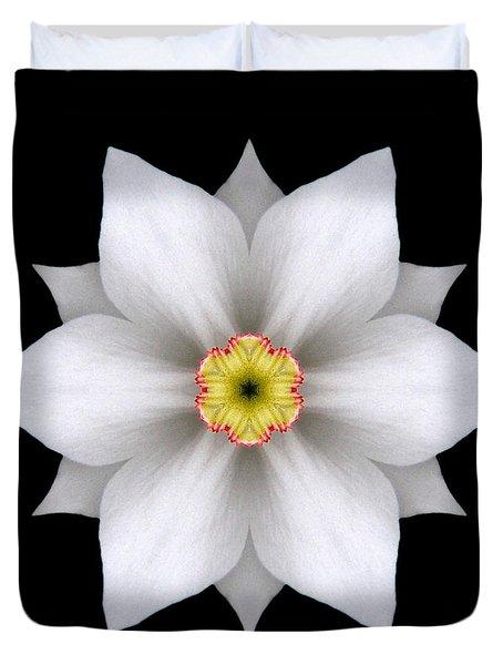White Daffodil II Flower Mandala Duvet Cover by David J Bookbinder