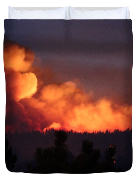 Duvet Cover featuring the photograph White Draw Fire First Night by Bill Gabbert