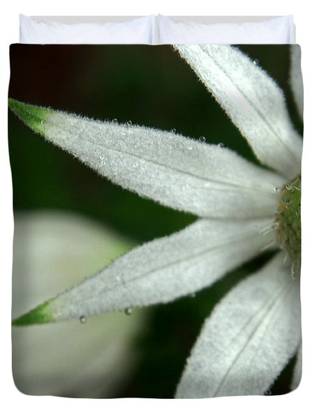 White Flannel Flowers Duvet Cover by Justin Woodhouse