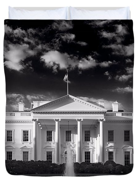 White House Sunrise B W Duvet Cover by Steve Gadomski
