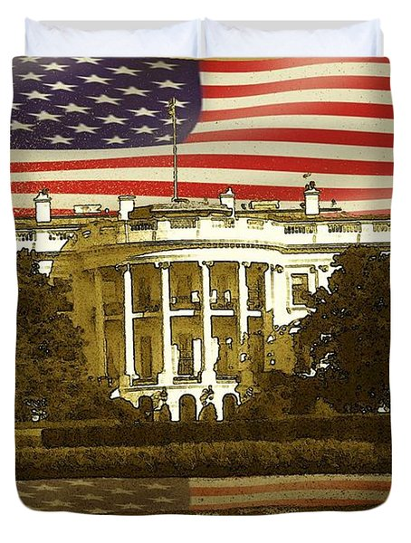 White House Washington - Patriotic Poster Duvet Cover by Peter Fine Art Gallery  - Paintings Photos Digital Art