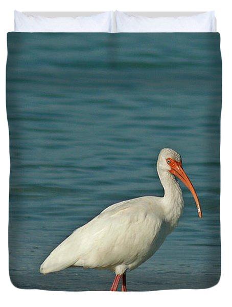 White Ibis Duvet Cover by Cindi Ressler