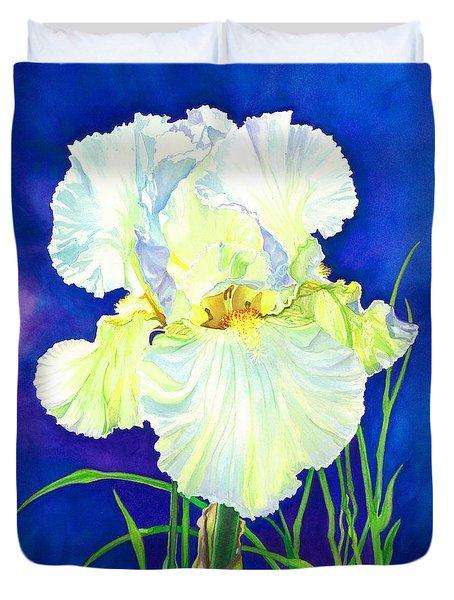 White Iris Duvet Cover by Barbara Jewell