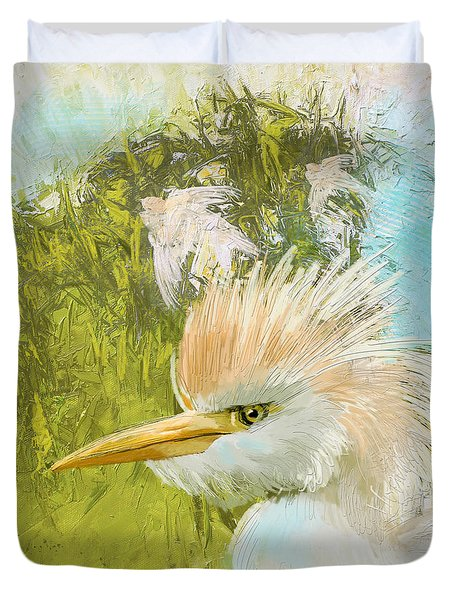 White Kingfisher Duvet Cover by Catf