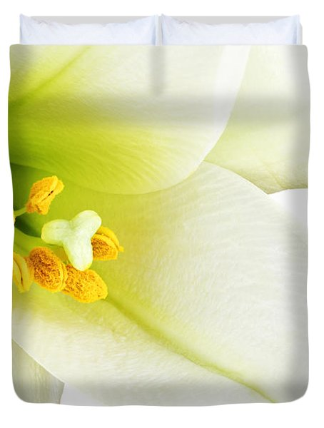 White lilly macro Duvet Cover by Johan Swanepoel