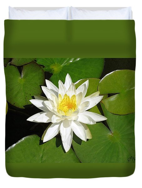 White Lotus Duvet Cover by Ellen Henneke