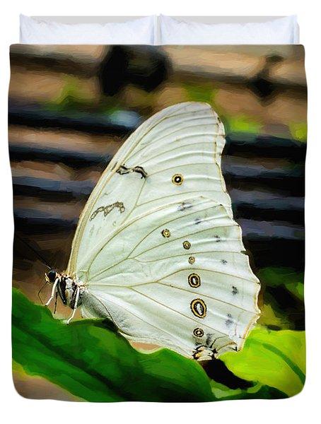 White Morpho Duvet Cover by Jon Burch Photography