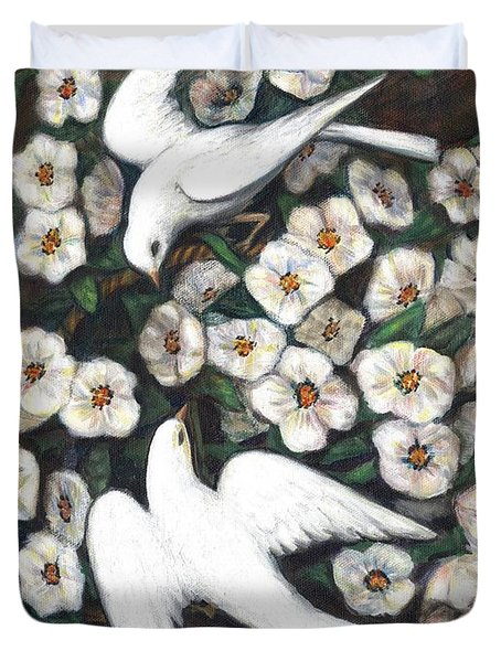 White On White Duvet Cover by Linda Mears