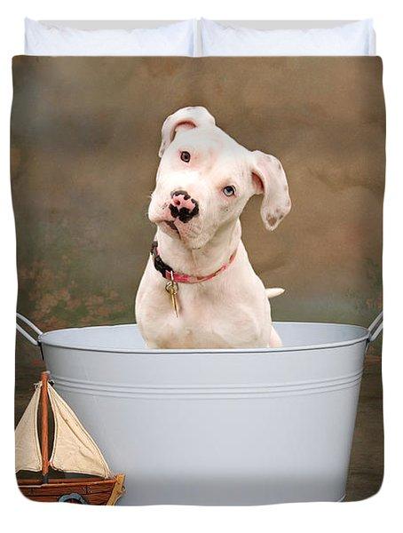 White Pitbull Puppy Portrait Duvet Cover by James BO  Insogna