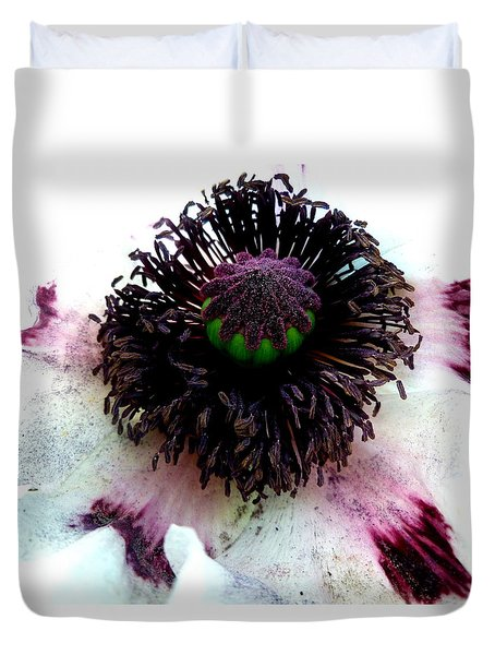 White Poppy Macro Duvet Cover by The Creative Minds Art and Photography