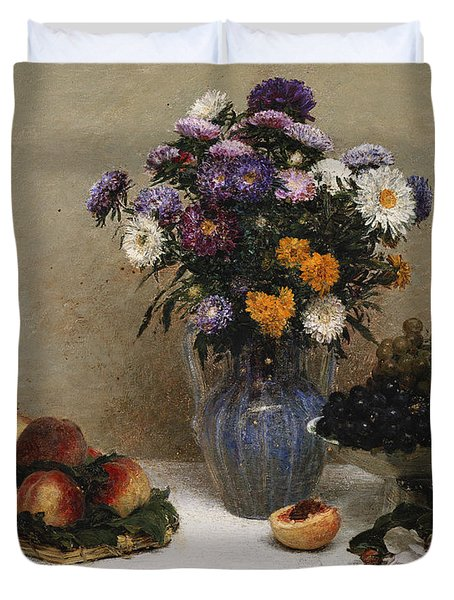 White Roses And Chrysanthemums Duvet Cover by Ignace Henri Jean Fantin-Latour