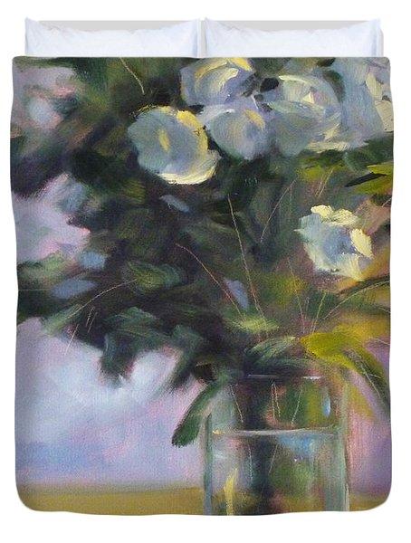 White Roses Duvet Cover by Nancy Merkle