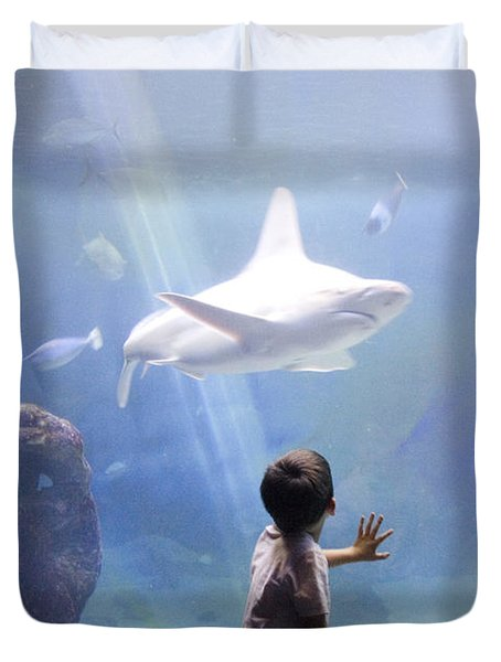 White Shark And Young Boy Duvet Cover by David Smith