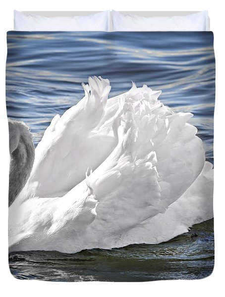 White swan on water Duvet Cover by Elena Elisseeva