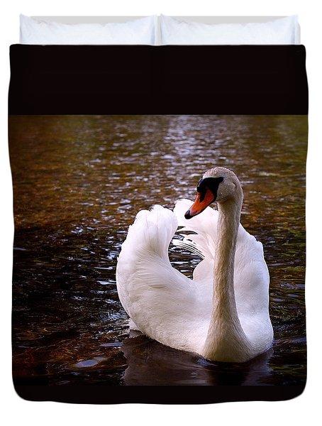White Swan Duvet Cover by Rona Black