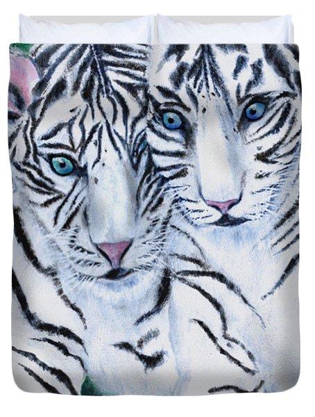 White Tiger Cubs Duvet Cover by Bette Orr