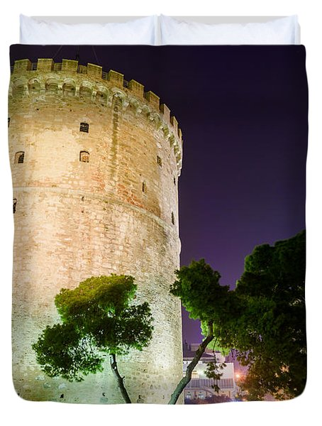 White Tower In Salonica Greece Duvet Cover by Sotiris Filippou
