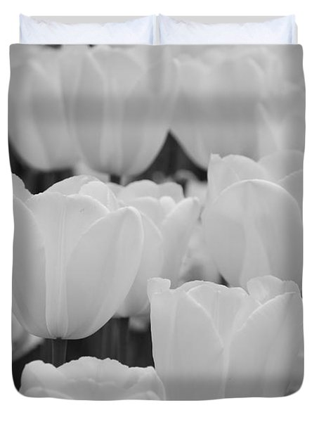 white tulips b/w Duvet Cover by Jennifer Lyon