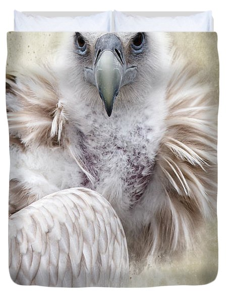 White Vulture  Duvet Cover by Barbara Orenya