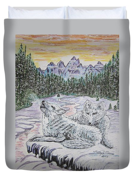 White Wolves Duvet Cover by Kathy Marrs Chandler