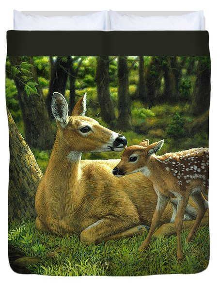 Whitetail Deer - First Spring Duvet Cover by Crista Forest