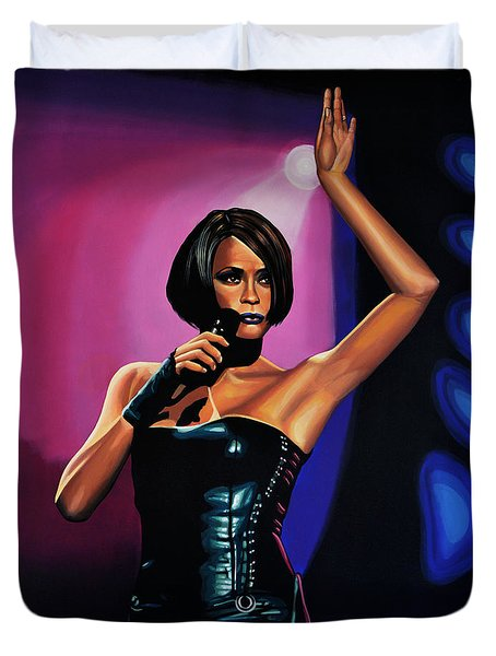 Whitney Houston On Stage Duvet Cover by Paul Meijering