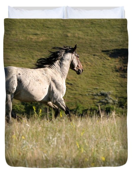 Wild Appaloosa Running away Duvet Cover by Sabrina L Ryan