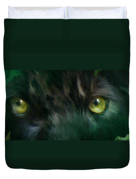 Wild Eyes - Black Panther Duvet Cover by Carol Cavalaris