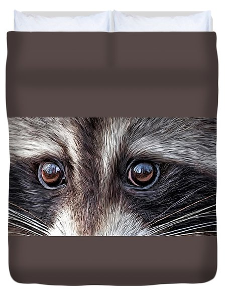 Wild Eyes - Raccoon Duvet Cover by Carol Cavalaris